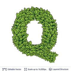 letter q symbol of green leaves vector image