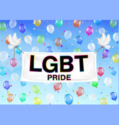 lgbt pride banner on colorful balloon and sky vector image