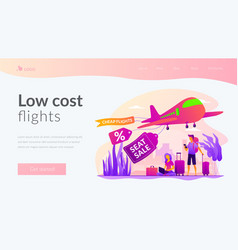 low cost flights landing page template vector image