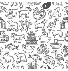 lunar new year symbols seamless pattern vector image