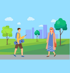 man and woman going in park pedestrians vector image