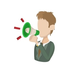 Man with a megaphone icon cartoon style vector image