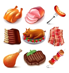 Meat food icons set vector