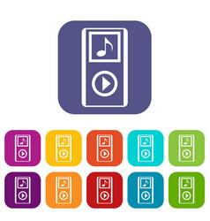 mini mp3 portable player icons set vector image