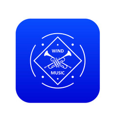 Musical trumpet icon blue vector