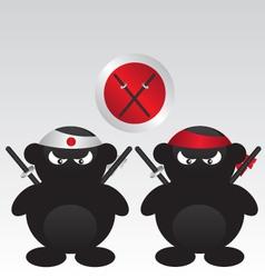 Ninja warrior cartoon vector