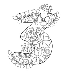 Number 3 coloring book for adults vector