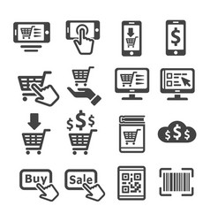 Online shopping icon vector