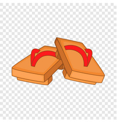 Pair wooden clogs icon cartoon style vector