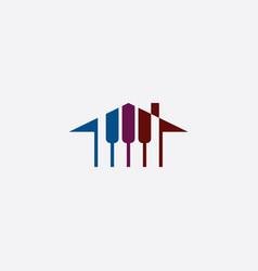 piano house logo music school icon vector image