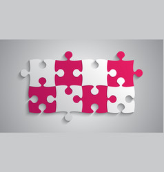 Pink grey piece puzzle rectangle banner puzzle vector