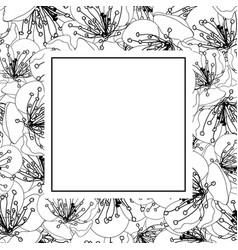 plum blossom flower outline banner card vector image