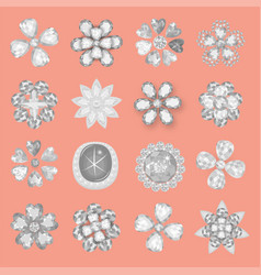 Pocket bag gemstones jewelry flower pattern set vector