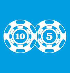 poker chips nominal five and ten icon white vector image