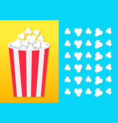 Popcorn round bucket box movie cinema icon in vector