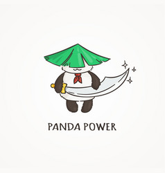 power panda with a saber sword wildlife ecology vector image