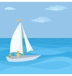 Sailing boat in sea vector