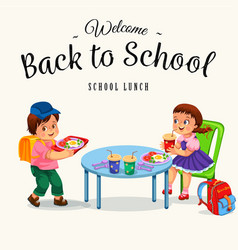 school lunch colorful poster vector image