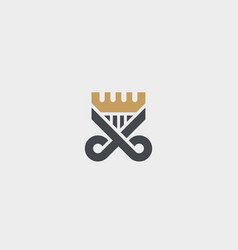 scissors comb logotype crown hair shield vector image