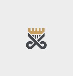 Scissors comb logotype crown hair shield vector