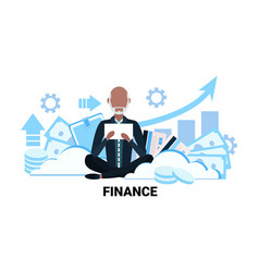 Senior asian businessman financial trading vector