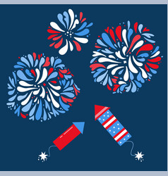 set isolated festive fireworks and rockets on vector image