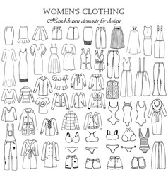 set of 55 hand-drawn elements of a womens vector image