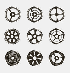 set of gears on white background vector image