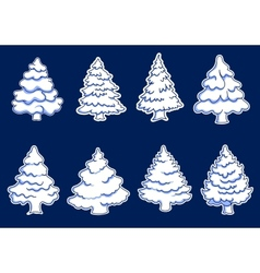 Set of new year pines vector