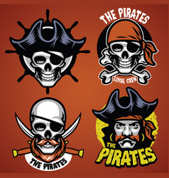 Set of pirate badge vector