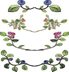 Set of watercolor borders with berries vector
