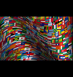 set wave flags all countries in vector image