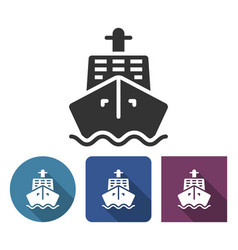 Ship icon in different variants with long shadow vector