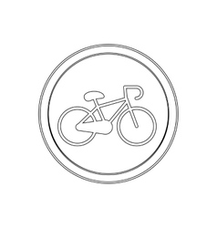 Silhouette circular shape with bicycle icon flat vector