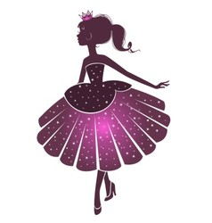 Silhouette of a beautiful princess vector