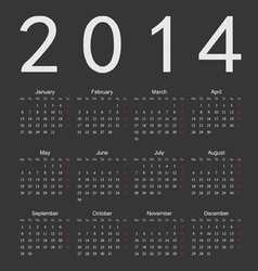 Simple black calendar 2014 vector image