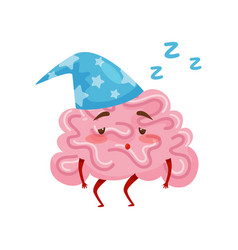 sleepy tired humanized brain in blue nightcap vector image