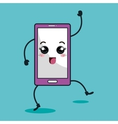 Smartphone character kawaii style vector