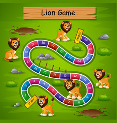 Snakes and ladders game lion theme vector