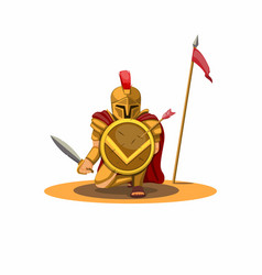 spartan warrior hold shield and defending pose vector image