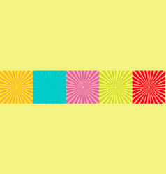sunburst set with ray light template five vector image