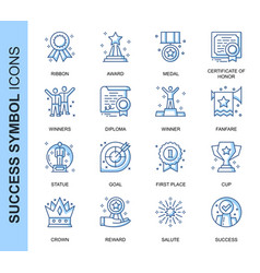 thin line success related icons set vector image