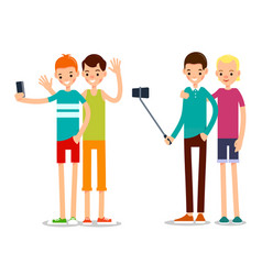 two man selfie isolated friends do joint vector image