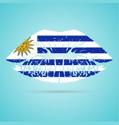 Uruguay flag lipstick on the lips isolated on a vector