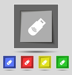 Usb Icon sign on original five colored buttons vector