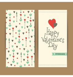 Valentine card with hearts and arrows vector