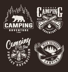 vintage monochrome summer adventure badges vector image