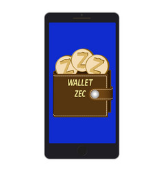 Wallet of zcash on a phone screen vector
