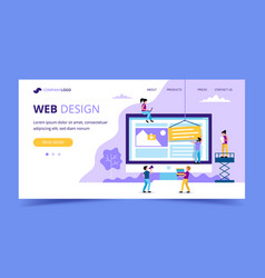 web design landing page - with small vector image