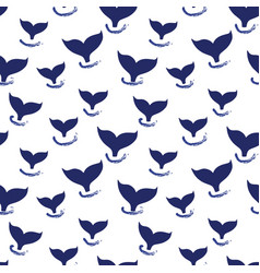 whale tail seamless pattern simple marine vector image